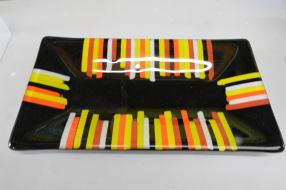 Serving dish black and colours